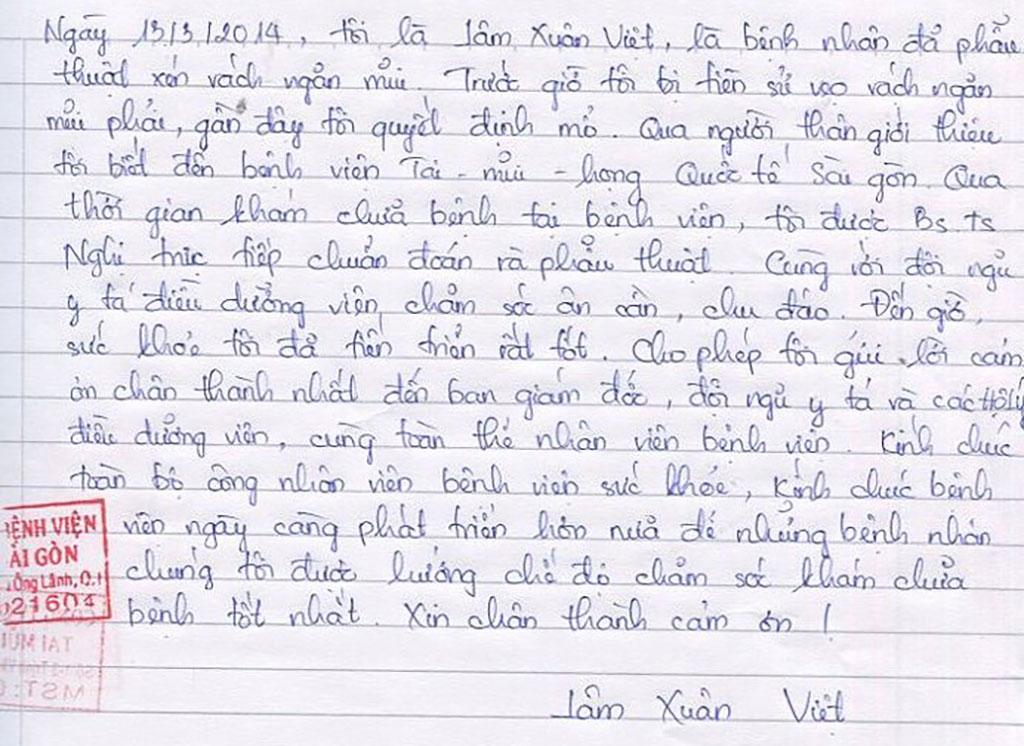 Thư Cám ơn của Lâm Xuân Việt - Bệnh viện Tai Mũi Họng Sài Gòn